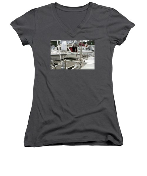Women's V-Neck T-Shirt (Junior Cut) featuring the photograph Marina Stuff by Yurix Sardinelly