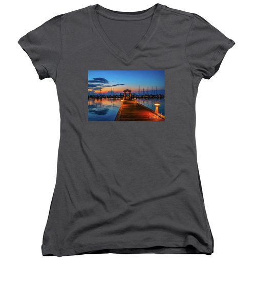 Marina Sunrise Women's V-Neck T-Shirt (Junior Cut) by Tom Claud