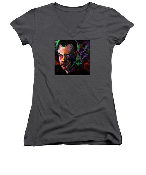 Women's V-Neck T-Shirt (Junior Cut) featuring the painting Mark Webster Artist by Mark Webster