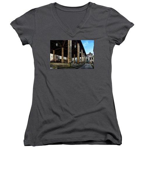 Market Hall Of Cordes-sur-ciel Women's V-Neck T-Shirt (Junior Cut) by RicardMN Photography