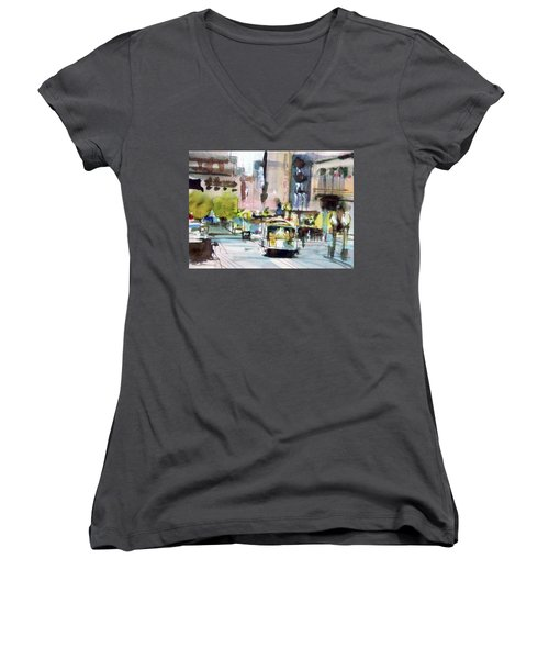 Women's V-Neck T-Shirt (Junior Cut) featuring the painting Market Street by Ed Heaton