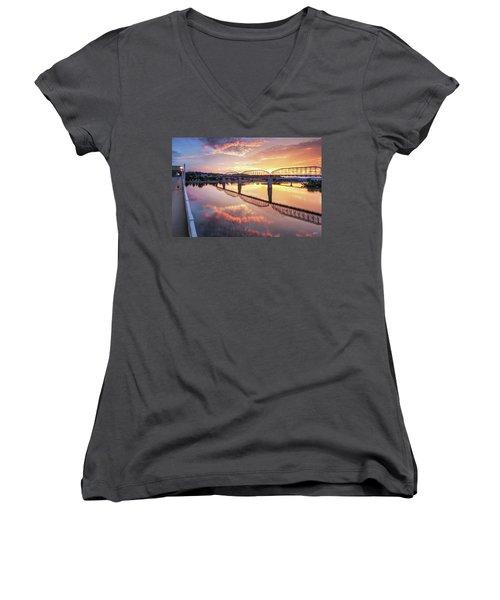 Market Street Jog At Sunrise Women's V-Neck T-Shirt (Junior Cut) by Steven Llorca