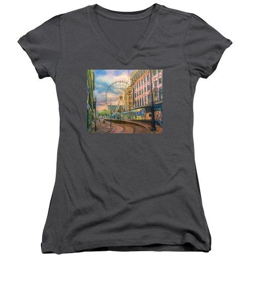 Market Street Metrolink Tramstop With The Manchester Wheel  Women's V-Neck T-Shirt