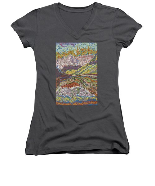 Maroon Bells Women's V-Neck T-Shirt (Junior Cut) by Robert SORENSEN