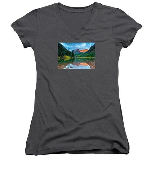 Maroon Bells Sunrise Women's V-Neck T-Shirt (Junior Cut) by John Vose