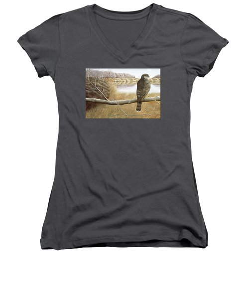 Women's V-Neck T-Shirt (Junior Cut) featuring the painting Marsh Hawk by Laurie Stewart