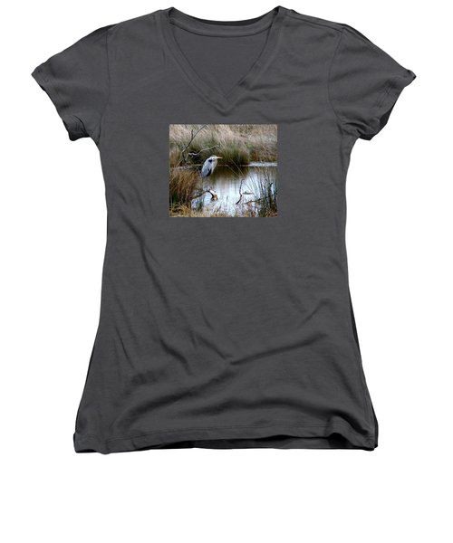 Marsh Pond Great Blue Heron Women's V-Neck T-Shirt (Junior Cut) by Phyllis Beiser