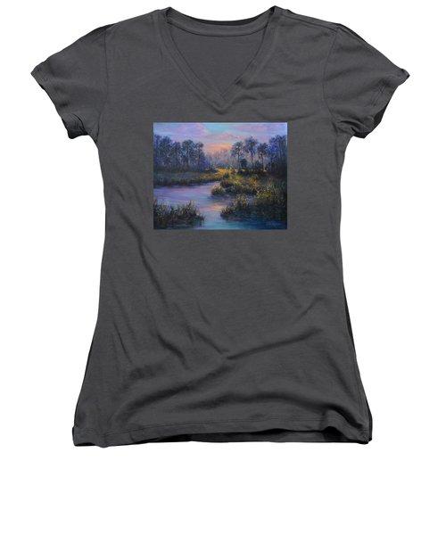 Marsh Sunset Nature Wetland Trees Print Of Panting Women's V-Neck