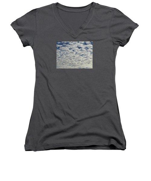 Marshmallow Sky Women's V-Neck T-Shirt (Junior Cut)