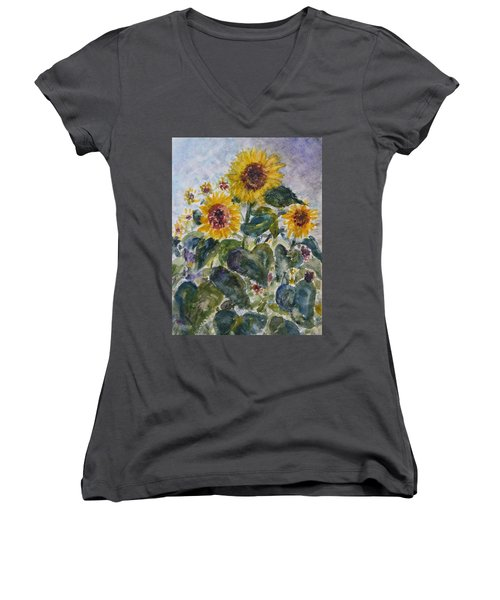 Martha's Sunflowers Women's V-Neck