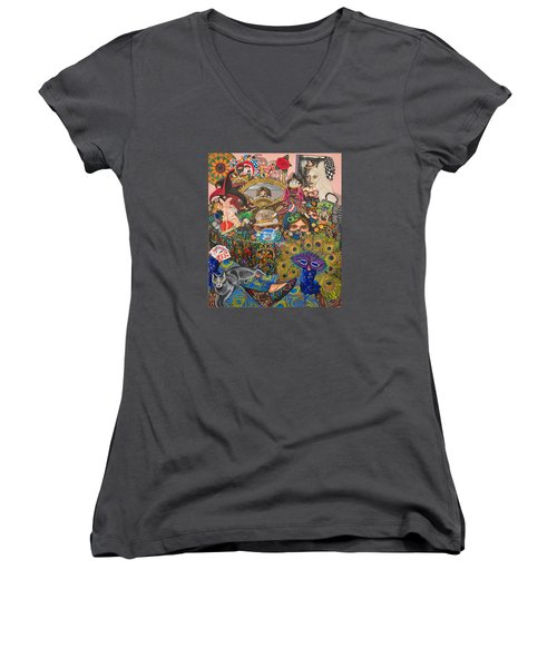 Martigras Masquerade Women's V-Neck T-Shirt (Junior Cut) by Bonnie Siracusa