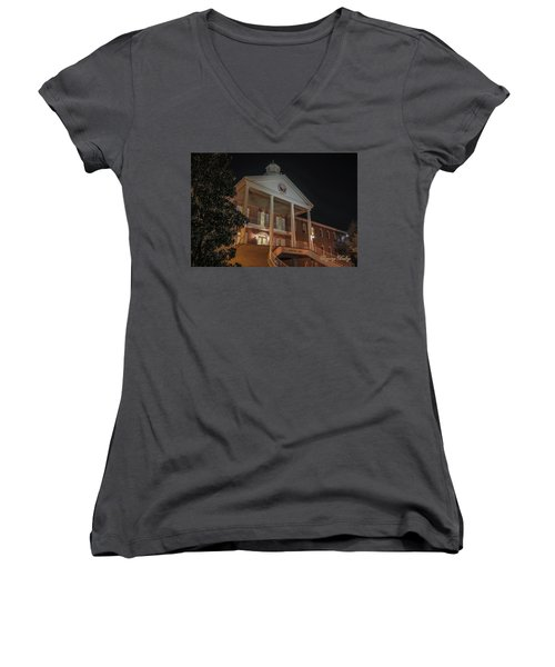 Martin Hall Night 01 Women's V-Neck T-Shirt