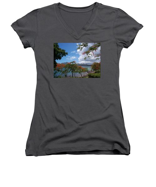 Women's V-Neck T-Shirt (Junior Cut) featuring the photograph Martinique by Mary-Lee Sanders