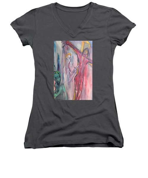 Women's V-Neck T-Shirt (Junior Cut) featuring the painting Martyrdom by Kenneth Agnello