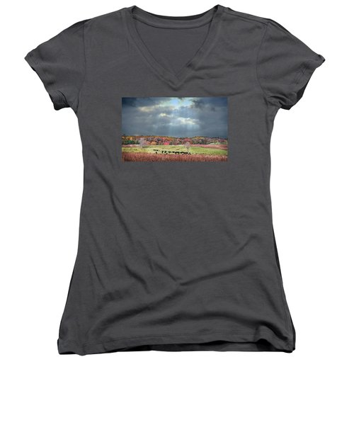 Maryland Farm With Autumn Colors And Approaching Storm Women's V-Neck (Athletic Fit)