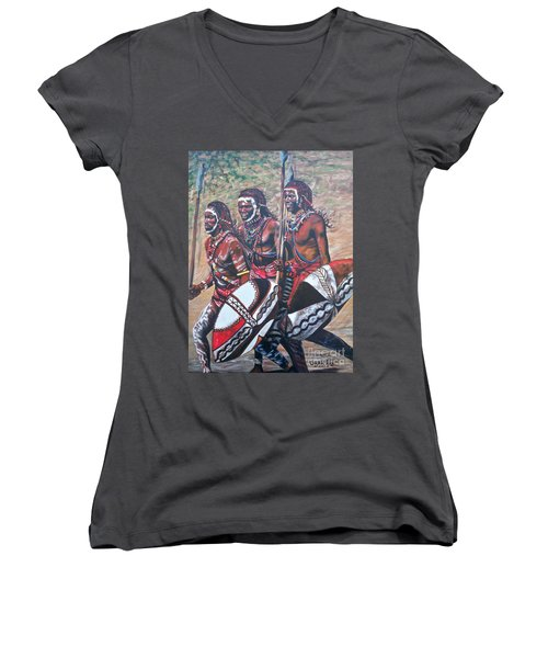 Women's V-Neck T-Shirt (Junior Cut) featuring the painting Masaai Warriors by Sigrid Tune