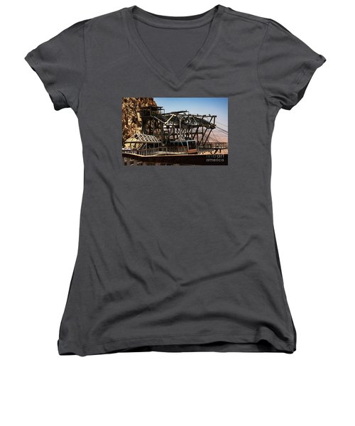 Women's V-Neck featuring the photograph Masada Lift by Mae Wertz
