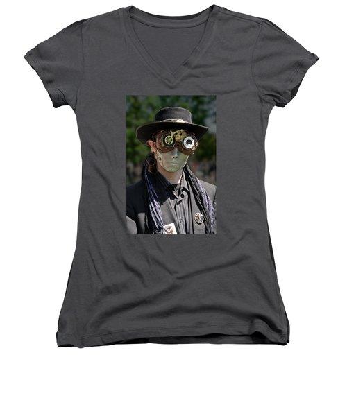 Masked Man - Steampunk Women's V-Neck T-Shirt (Junior Cut) by Betty Denise