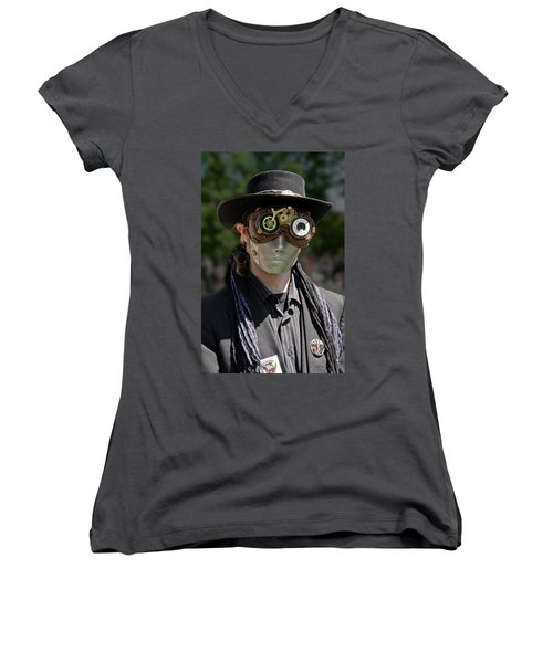 Masked Man - Steampunk Women's V-Neck (Athletic Fit)
