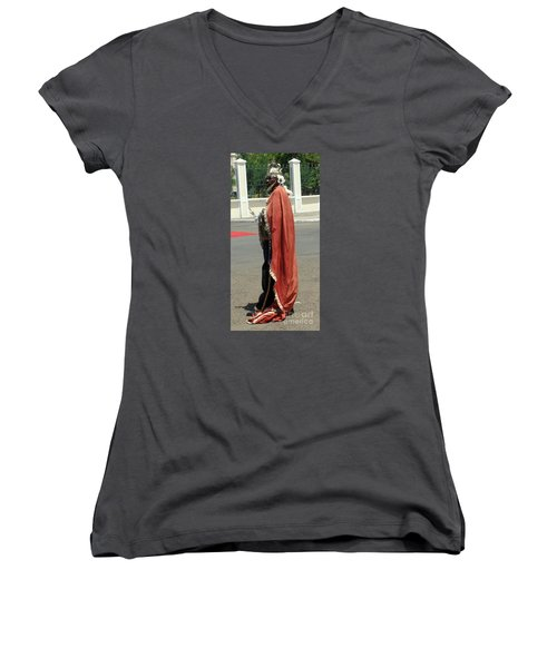 Masquerader Of Sao Tome Women's V-Neck T-Shirt (Junior Cut) by John Potts