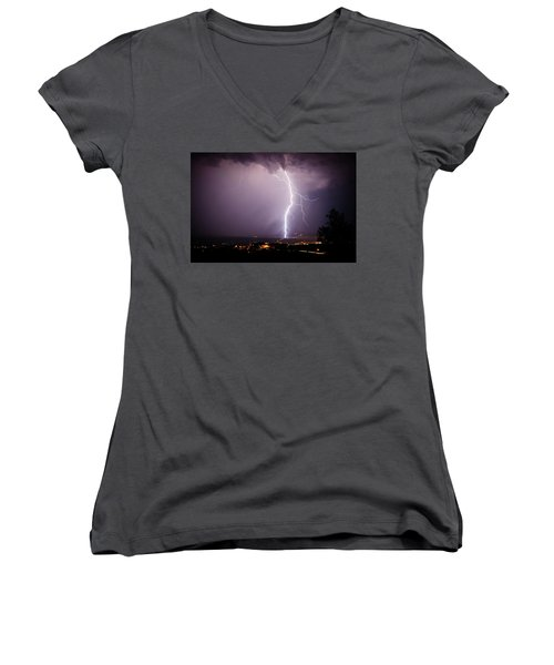 Women's V-Neck T-Shirt (Junior Cut) featuring the photograph Massive Lightning Storm by Ron Chilston