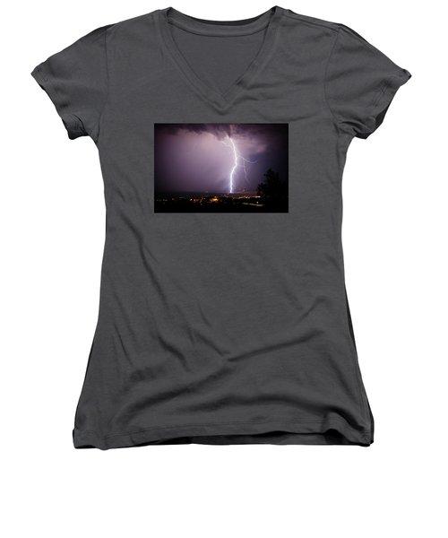 Massive Lightning Storm Women's V-Neck