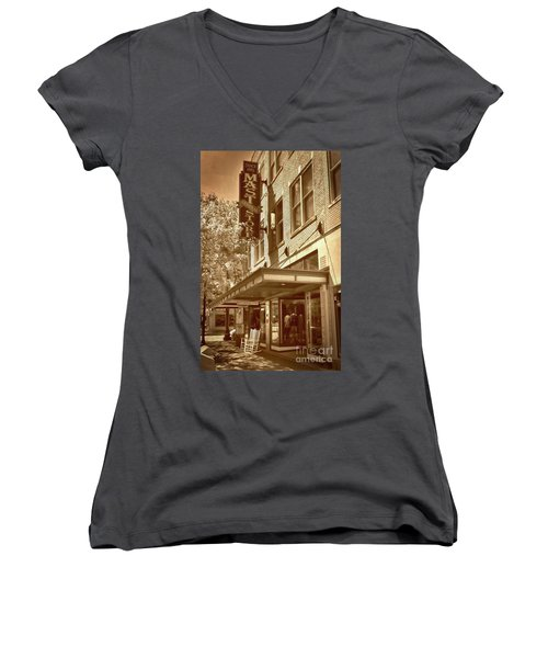 Women's V-Neck T-Shirt (Junior Cut) featuring the photograph Mast General Store by Skip Willits