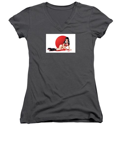 Women's V-Neck T-Shirt (Junior Cut) featuring the drawing Masuimi by Brian Gibbs