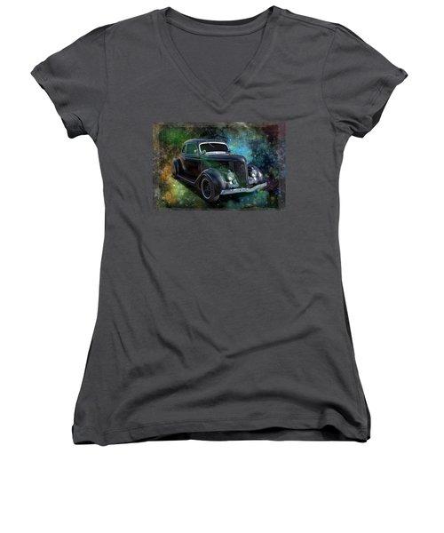 Matt Black Coupe Women's V-Neck T-Shirt (Junior Cut) by Keith Hawley