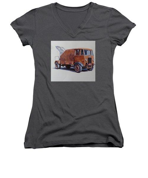 Women's V-Neck T-Shirt (Junior Cut) featuring the painting Maudslay Wrecker. by Mike  Jeffries