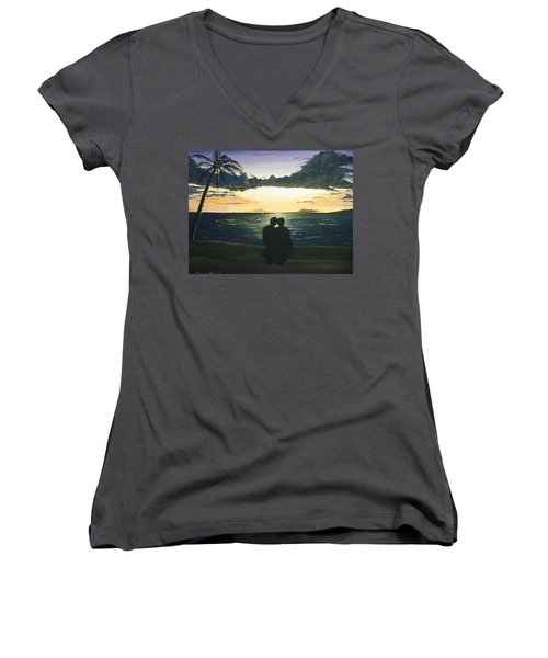 Maui Beach Sunset Women's V-Neck (Athletic Fit)