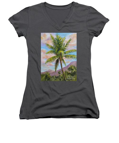 Maui Palm Women's V-Neck T-Shirt (Junior Cut) by William Reed