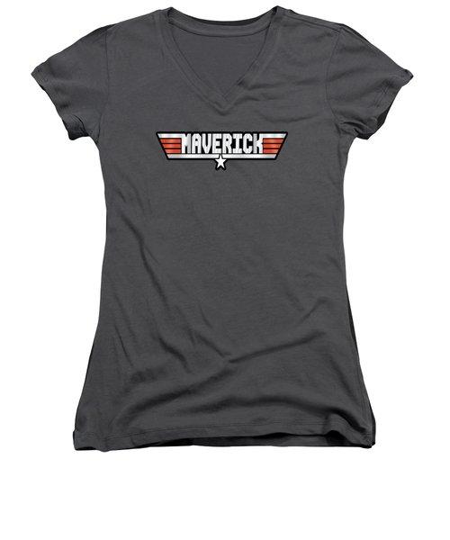 Maverick Callsign Women's V-Neck T-Shirt (Junior Cut) by Fernando Miranda
