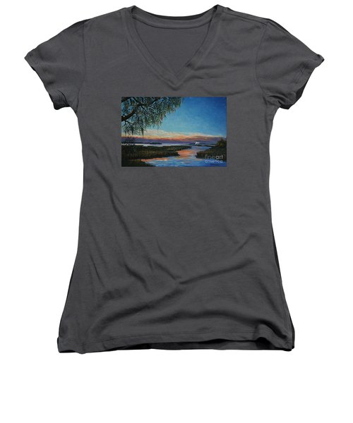 May River Sunset Women's V-Neck T-Shirt (Junior Cut) by Stanton Allaben