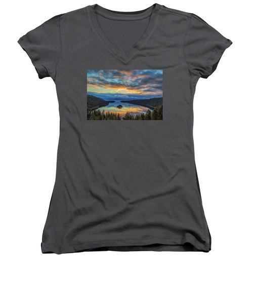 May Sunrise At Emerald Bay Women's V-Neck T-Shirt (Junior Cut) by Marc Crumpler