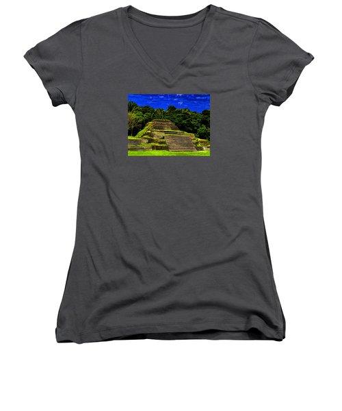 Mayan Temple Women's V-Neck T-Shirt (Junior Cut)