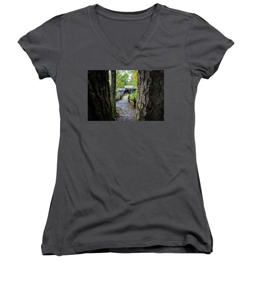 Maybry Mill Through The Trees Women's V-Neck T-Shirt
