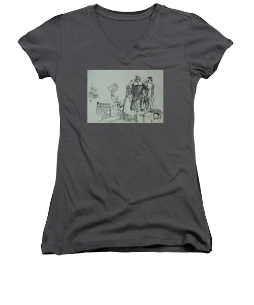 Women's V-Neck T-Shirt (Junior Cut) featuring the drawing Mayflower Departure. by Mike Jeffries