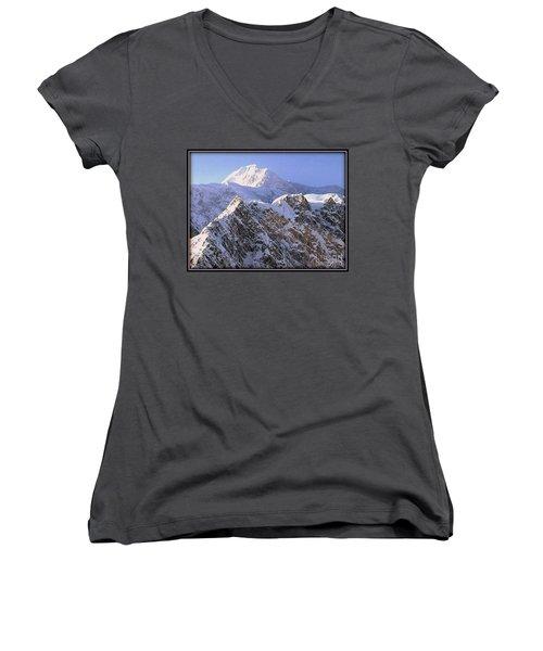 Mc Kinley Peak Women's V-Neck T-Shirt (Junior Cut) by James Lanigan Thompson MFA