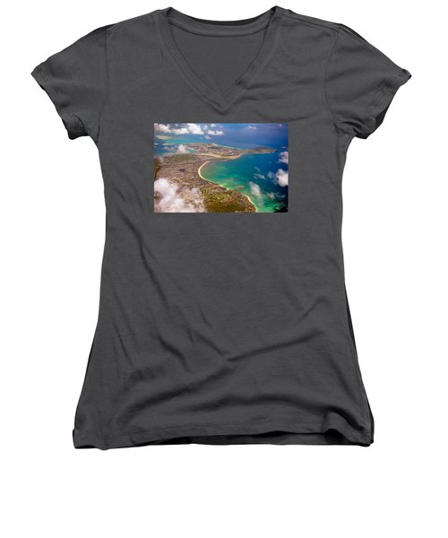 Women's V-Neck T-Shirt (Junior Cut) featuring the photograph Mcbh Aerial View by Dan McManus