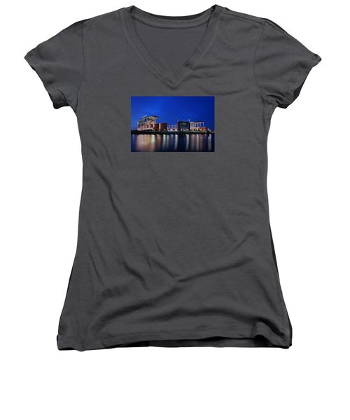 Mclane Stadium Evening Women's V-Neck T-Shirt (Junior Cut) by Stephen Stookey