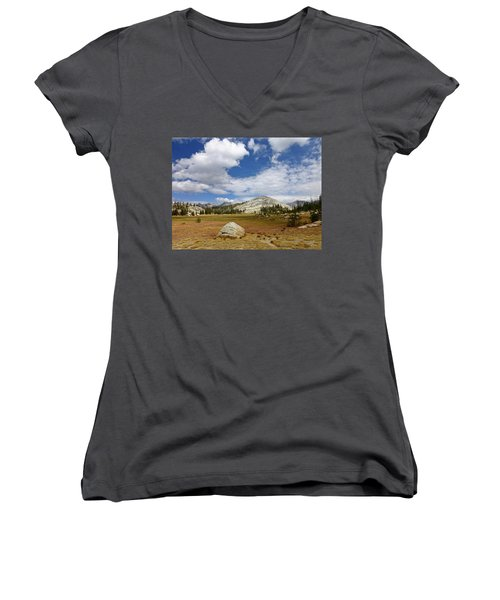 John Muir Trail High Sierra Camp Meadow Women's V-Neck T-Shirt (Junior Cut) by Amelia Racca