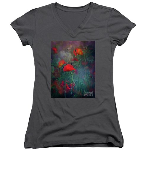 Meadow In Another Dimension Women's V-Neck T-Shirt (Junior Cut) by Agnieszka Mlicka