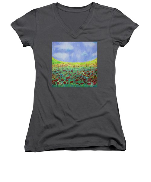 Meadow Of Poppies  Women's V-Neck (Athletic Fit)