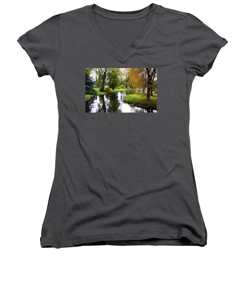 Meandering Creek In Autumn Women's V-Neck T-Shirt