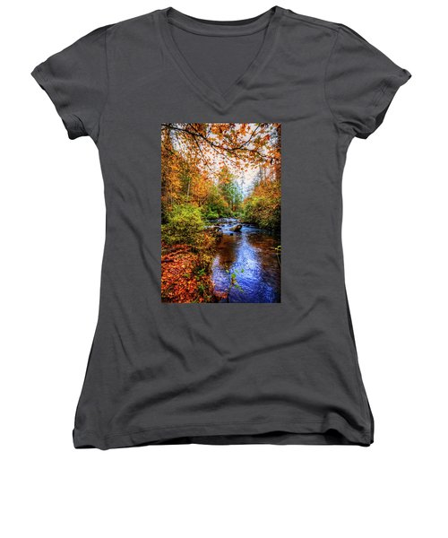 Women's V-Neck T-Shirt (Junior Cut) featuring the photograph Meandering In The Mountains by Debra and Dave Vanderlaan