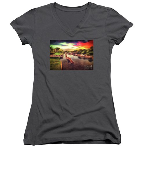 Meanwhile Back On The River Women's V-Neck