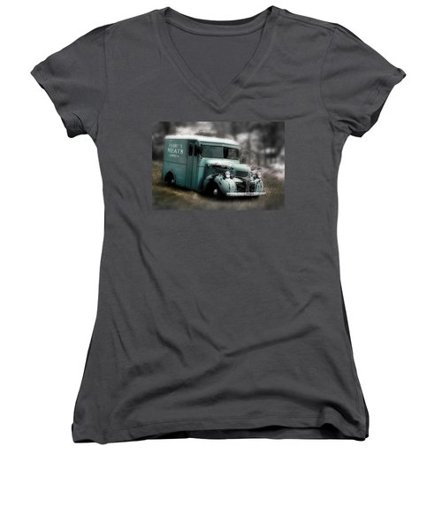 Meat Truck Women's V-Neck T-Shirt (Junior Cut) by Gray  Artus
