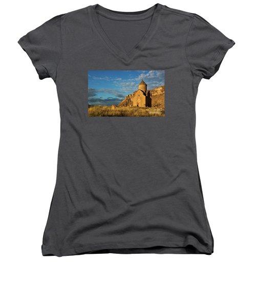Medieval Areni Church Under Puffy Clouds, Armenia Women's V-Neck T-Shirt (Junior Cut) by Gurgen Bakhshetsyan