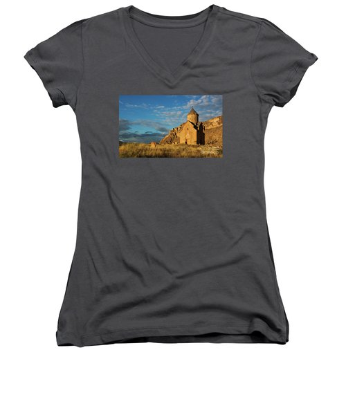 Medieval Areni Church Under Puffy Clouds, Armenia Women's V-Neck T-Shirt